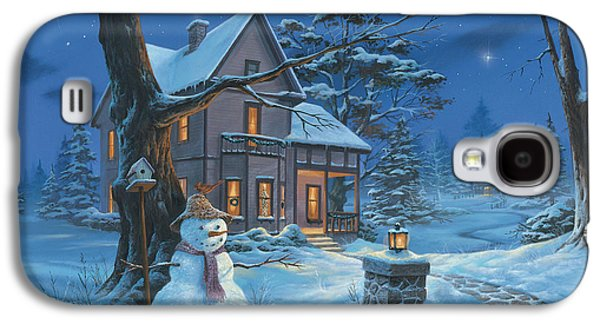 Holiday Paintings Galaxy S4 Cases - Once Upon A Winters Night Galaxy S4 Case by Michael Humphries