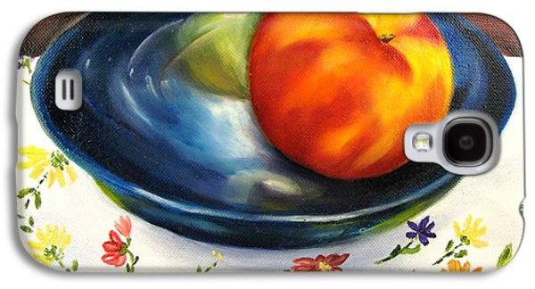 Pottery Paintings Galaxy S4 Cases - One Good Peach Galaxy S4 Case by Carol Sweetwood