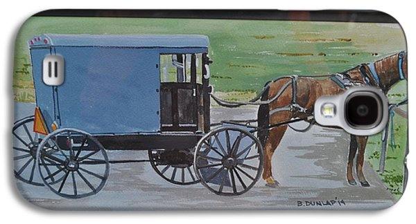 Horse And Buggy Paintings Galaxy S4 Cases - One Horse Power Galaxy S4 Case by Bart Dunlap