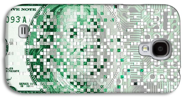 Cyberspace Galaxy S4 Cases - One Hundred Dollar Bill Turning Digital Galaxy S4 Case by Panoramic Images
