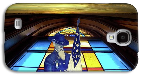 Portraits Glass Art Galaxy S4 Cases - One Last Battle Union Soldier Stained Glass Window Digital Art Galaxy S4 Case by Thomas Woolworth