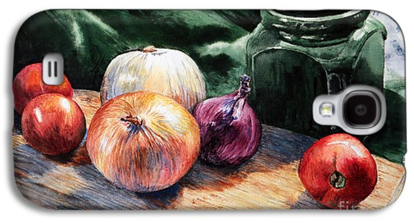 Water Jars Paintings Galaxy S4 Cases - Onions and Tomatoes Galaxy S4 Case by Joey Agbayani