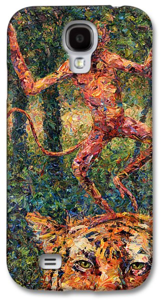 Abstract Nature Paintings Galaxy S4 Cases - Only a Crazy Monkey dances on a Tigers Head Galaxy S4 Case by James W Johnson