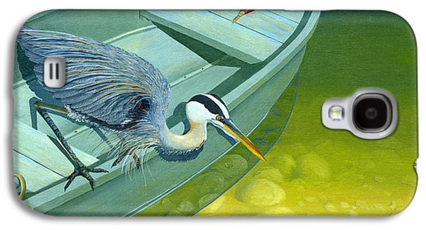 Rowboat Galaxy S4 Cases - Opportunity-the Great Blue Heron Galaxy S4 Case by Gary Giacomelli