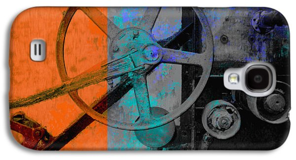 Machinery Galaxy S4 Cases - Orange and Blue  Galaxy S4 Case by Ann Powell