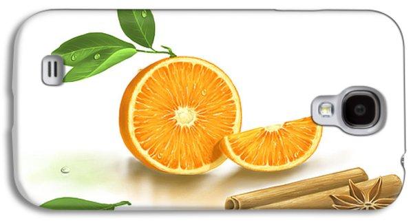 Digital Galaxy S4 Cases - Orange and Cinnamon Galaxy S4 Case by Veronica Minozzi
