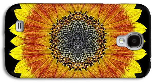 David J Bookbinder Galaxy S4 Cases - Orange and Yellow Sunflower Flower Mandala Galaxy S4 Case by David J Bookbinder