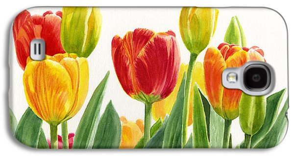 Orange And Yellow Tulips Horizontal Design Galaxy S4 Case by Sharon Freeman