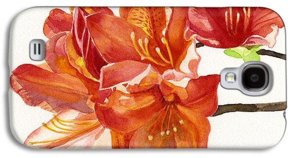 Botanical Galaxy S4 Cases - Orange Azalea Square Design Galaxy S4 Case by Sharon Freeman