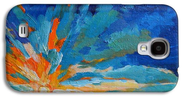 Surreal Landscape Galaxy S4 Cases - Orange Blue Sunset Landscape Galaxy S4 Case by Patricia Awapara