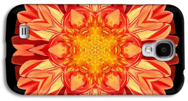David J Bookbinder Galaxy S4 Cases - Orange Dahlia Flower Mandala Galaxy S4 Case by David J Bookbinder