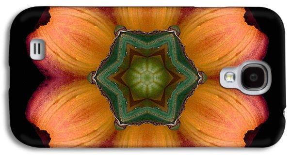 David J Bookbinder Galaxy S4 Cases - Orange Daylily Flower Mandala Galaxy S4 Case by David J Bookbinder