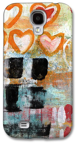Abstracted Galaxy S4 Cases - Orange Hearts- abstract painting Galaxy S4 Case by Linda Woods