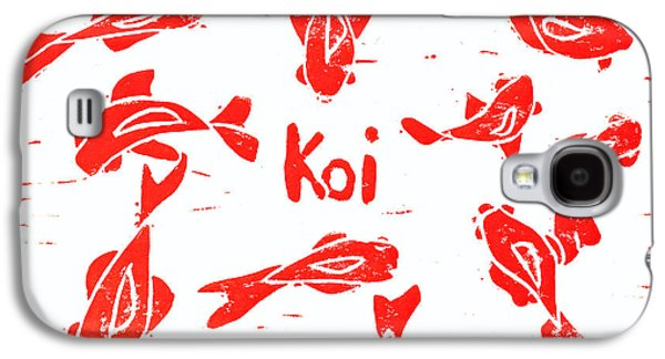 Lino-cut Galaxy S4 Cases - Orange Lazy Koi Galaxy S4 Case by Lynn-Marie Gildersleeve