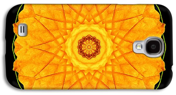 David J Bookbinder Galaxy S4 Cases - Orange Nasturtium Flower Mandala Galaxy S4 Case by David J Bookbinder