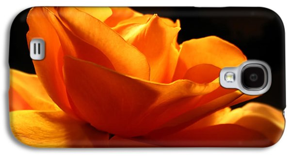 Botanical Galaxy S4 Cases - Orange Rose Glowing in the Night Galaxy S4 Case by Jennie Marie Schell