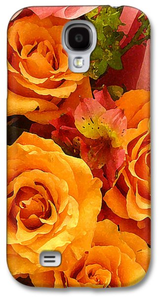 Floral Digital Art Galaxy S4 Cases - Orange Roses Galaxy S4 Case by Amy Vangsgard
