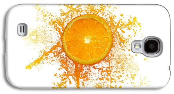 Food And Beverage Drawings Galaxy S4 Cases - Orange Splash Galaxy S4 Case by Aged Pixel