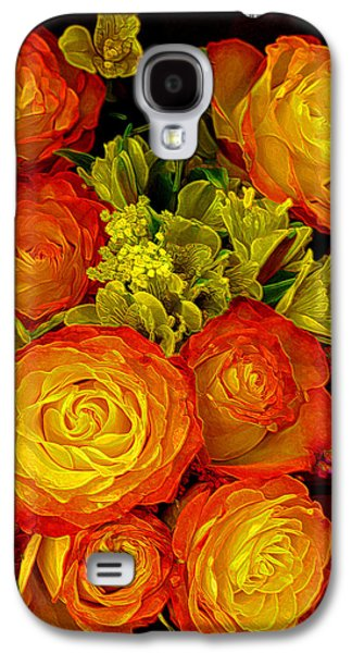 Gold Lime Green Galaxy S4 Cases - Orange Yellow Rose Pouquet Galaxy S4 Case by Linda Phelps