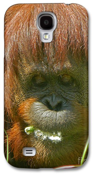 Orangutan Eating Green Galaxy S4 Case by Emmy Marie Vickers