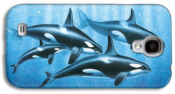 Ocean Mammals Galaxy S4 Cases - Orca Group Galaxy S4 Case by JQ Licensing