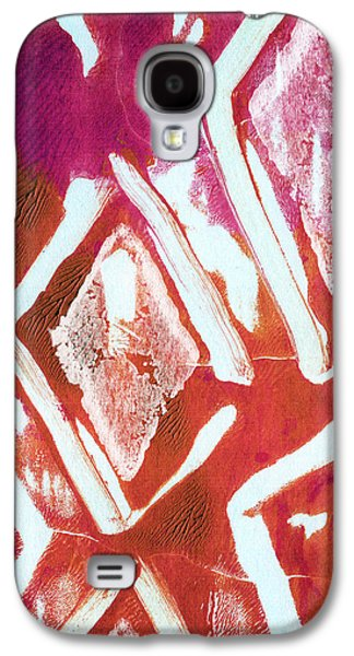 Contemporary Abstract Mixed Media Galaxy S4 Cases - Orchid Diamonds- Abstract Painting Galaxy S4 Case by Linda Woods