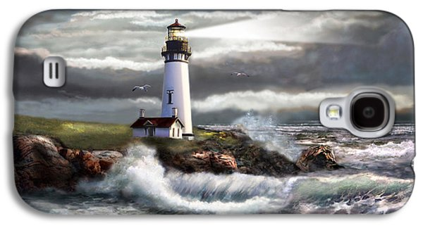 Print Paintings Galaxy S4 Cases - Oregon Lighthouse Beam of hope Galaxy S4 Case by Gina Femrite