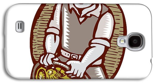 Linoleum Print Galaxy S4 Cases - Organic Farmer Harvest Basket Woodcut Linocut Galaxy S4 Case by Aloysius Patrimonio