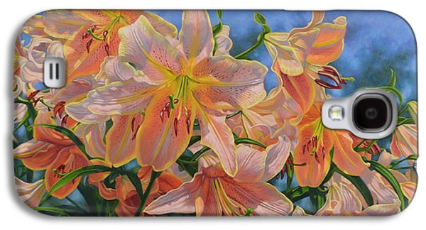 Botanical Galaxy S4 Cases - Oriental Lilies 2 Red Hot Galaxy S4 Case by Fiona Craig