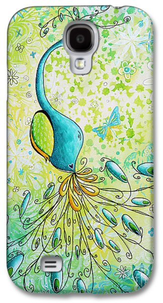 Gold Lime Green Galaxy S4 Cases - Original Acrylic Bird Floral Painting Peacock Glory by Megan Duncanson Galaxy S4 Case by Megan Duncanson