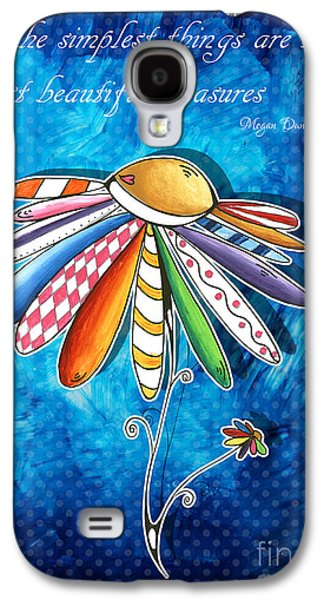 Joyful Drawings Galaxy S4 Cases - Original Hand Painted Daisy Quilt Painting Inspirational Art Quote by Megan Duncanson Galaxy S4 Case by Megan Duncanson