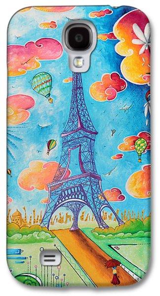 Balloon Flower Galaxy S4 Cases - Original Paris Eiffel Tower Pop Art Style Painting Fun and Chic by Megan Duncanson Galaxy S4 Case by Megan Duncanson