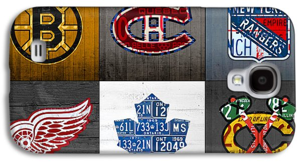 Hockey Mixed Media Galaxy S4 Cases - Original Six Hockey Team Retro Logo Vintage Recycled License Plate Art Galaxy S4 Case by Design Turnpike