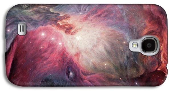 Constellations Paintings Galaxy S4 Cases - Orion Nebula M42 Galaxy S4 Case by Lucy West