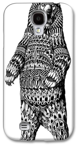 Native Drawings Galaxy S4 Cases - Ornate Grizzly Bear Galaxy S4 Case by BioWorkZ