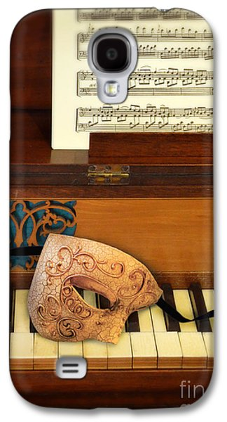 Old Sheet Music Galaxy S4 Cases - Ornate Mask on Piano Keys Galaxy S4 Case by Jill Battaglia