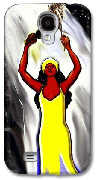 Spiritual Portrait Of Woman Digital Art Galaxy S4 Cases - Oshun -Goddess of Love -4 Galaxy S4 Case by Carmen Cordova