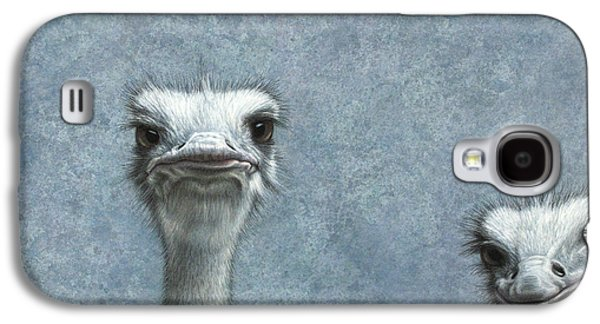 Nature Drawings Galaxy S4 Cases - Ostriches Galaxy S4 Case by James W Johnson