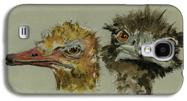 Ostrichs Head Study Galaxy S4 Case by Juan  Bosco