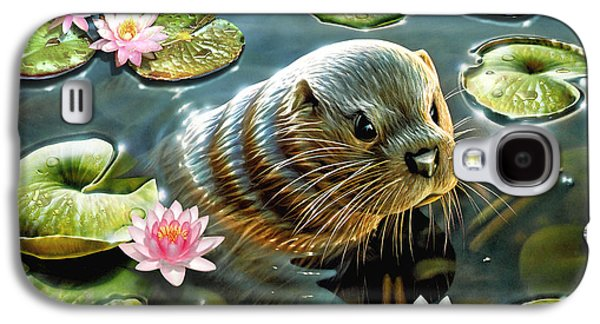 Otter In Water Lilies Galaxy S4 Case by Adrian Chesterman