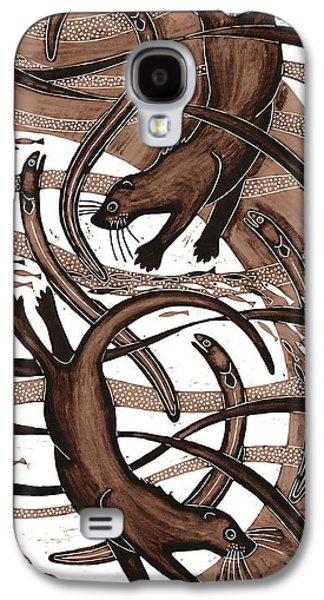 Brown Print Galaxy S4 Cases - Otter With Eel, 2013 Woodcut Galaxy S4 Case by Nat Morley