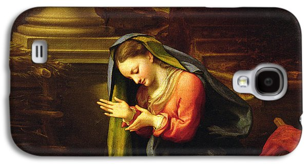 Religious Galaxy S4 Cases - Our Lady Worshipping the Child Galaxy S4 Case by Correggio