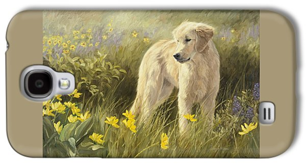 Dog Paintings Galaxy S4 Cases - Out In The Field Galaxy S4 Case by Lucie Bilodeau