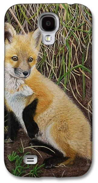 Fox Kit Paintings Galaxy S4 Cases - Out of the Den Galaxy S4 Case by Laurie Cartwright
