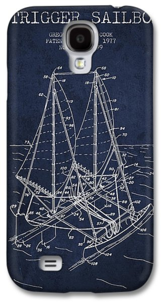 Outrigger Sailboat Patent From 1977 - Navy Blue Galaxy S4 Case by Aged Pixel