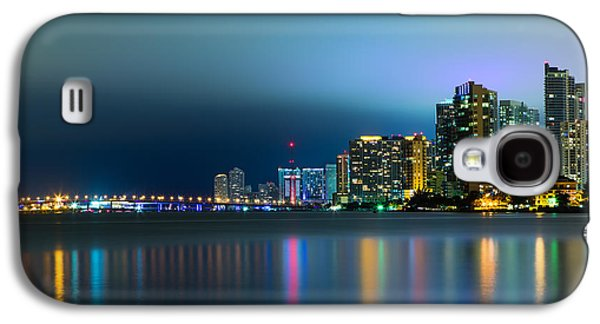 Light Galaxy S4 Cases - Overcast Miami Night Skyline Galaxy S4 Case by Andres Leon