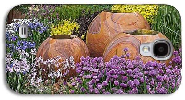Garden Scene Galaxy S4 Cases - Overflowing Joy In The Flower Graden Galaxy S4 Case by Gill Billington