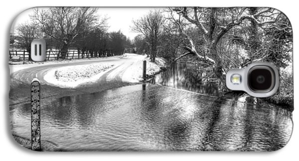 River Flooding Galaxy S4 Cases - Overflowing River in Black and White Galaxy S4 Case by Gill Billington