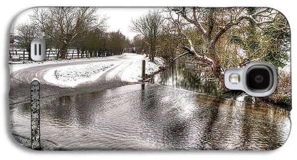River Flooding Galaxy S4 Cases - Overflowing River in Winter Galaxy S4 Case by Gill Billington