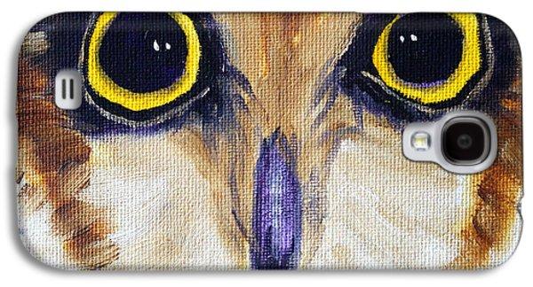 Yellow Beak Paintings Galaxy S4 Cases - Owl Eyes Galaxy S4 Case by Nancy Merkle